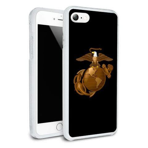 Marine Corps USMC Golden Logo on Black Eagle Globe Anchor Officially Licensed Protective Slim Fit Hybrid Rubber Bumper Case Fits Apple iPhone 8, 8 Plus, X