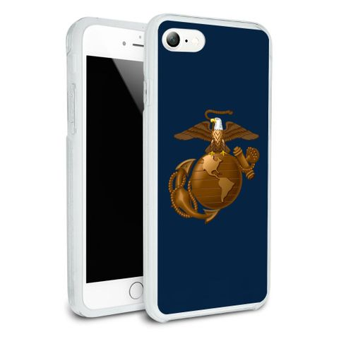 Marines USMC Eagle Globe Anchor on Blue Officially Licensed Protective Slim Fit Hybrid Rubber Bumper Case Fits Apple iPhone 8, 8 Plus, X