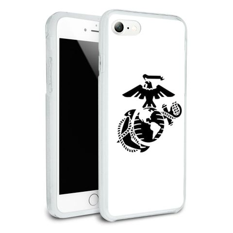 Marine Corps USMC Black on White Eagle Globe Anchor Officially Licensed Protective Slim Fit Hybrid Rubber Bumper Case Fits Apple iPhone 8, 8 Plus, X
