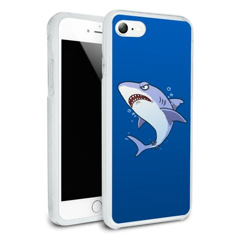 Great White Shark Cartoon in Ocean Protective Slim Fit Hybrid Rubber Bumper Case Fits Apple iPhone 8, 8 Plus, X