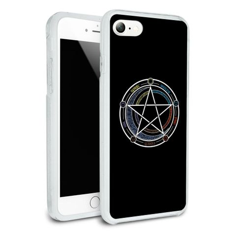 Pentagram Pentacle Star Wiccan Witch Protective Slim Fit Hybrid Rubber Bumper Case Fits Apple iPhone 8, 8 Plus, X