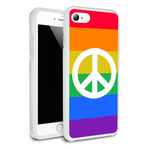 Peace Rainbow LGBTQ Symbol Protective Slim Fit Hybrid Rubber Bumper Case Fits Apple iPhone 8, 8 Plus, X