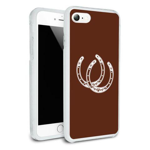 Horseshoe Lucky Double Cowboy Brown Protective Slim Fit Hybrid Rubber Bumper Case Fits Apple iPhone 8, 8 Plus, X