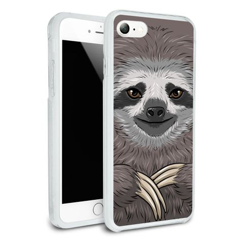 Cute Sloth Face Protective Slim Fit Hybrid Rubber Bumper Case Fits Apple iPhone 8, 8 Plus, X