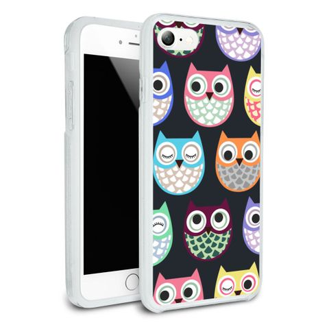 Colorful Owls Cute Pattern Protective Slim Fit Hybrid Rubber Bumper Case Fits Apple iPhone 8, 8 Plus, X