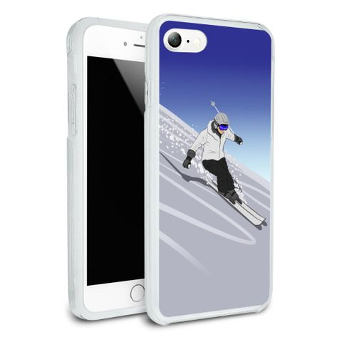 Skiing Down Mountain Skier Snow Skis Protective Slim Fit Hybrid Rubber Bumper Case Fits Apple iPhone 8, 8 Plus, X
