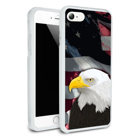 American Bald Eagle Flag USA Patriotic Protective Slim Fit Hybrid Rubber Bumper Case Fits Apple iPhone 8, 8 Plus, X