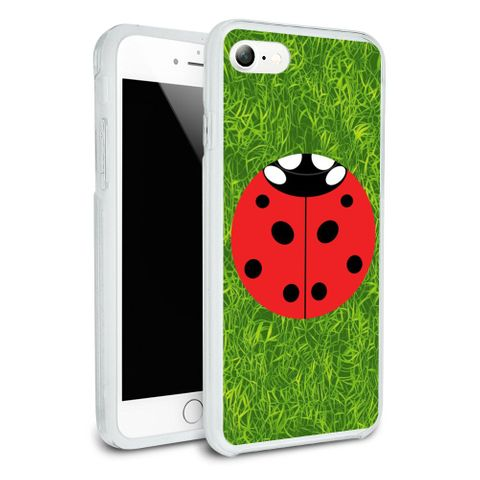 Lady Bug Ladybug Insect Protective Slim Fit Hybrid Rubber Bumper Case Fits Apple iPhone 8, 8 Plus, X