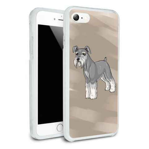 Miniature Schnauzer Dog Protective Slim Fit Hybrid Rubber Bumper Case Fits Apple iPhone 8, 8 Plus, X