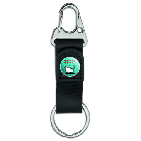 Nine Lives Cat Pixel Retro Game Belt Clip-On Carabiner Leather Fabric Keychain Key Ring