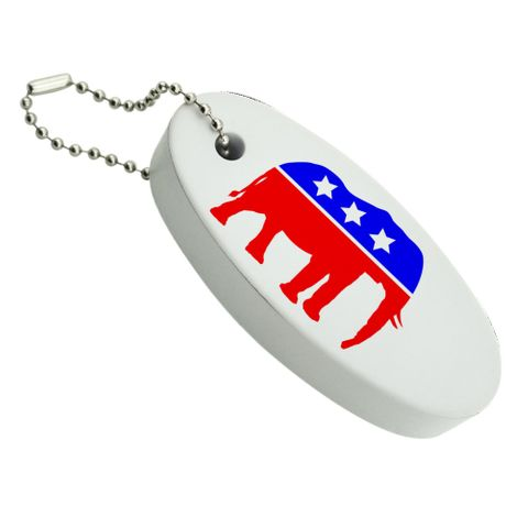 Republican Elephant GOP Conservative America Political Party Floating Foam Keychain Fishing Boat Buoy Key Float