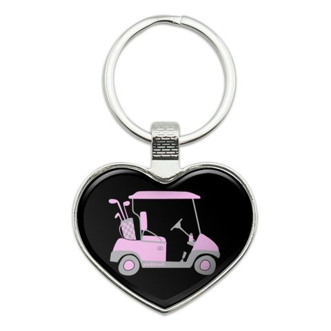 Pink Golf Cart Heart Love Metal Keychain Key Chain Ring