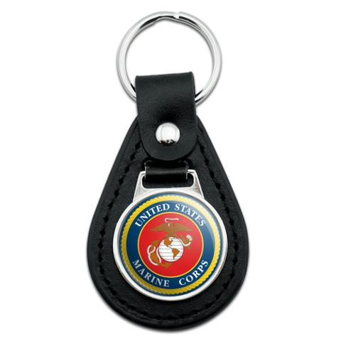 Marines USMC Logo Blue Red Gold Officially Licensed Black Leather Keychain