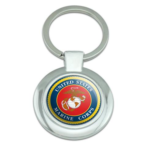 Marines USMC Logo Blue Red Gold Officially Licensed Classy Round Chrome Plated Metal Keychain