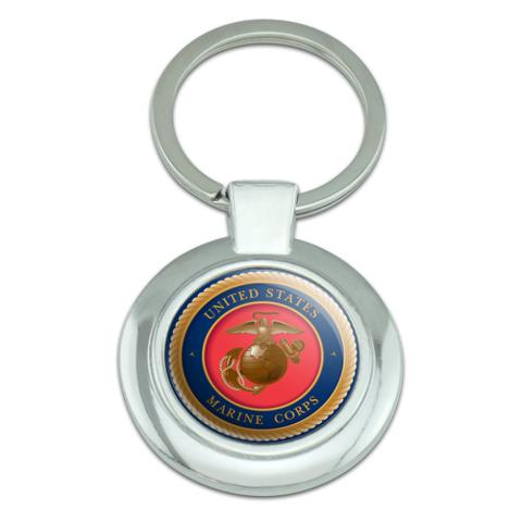Marine Corps USMC Emblem Officially Licensed Classy Round Chrome Plated Metal Keychain