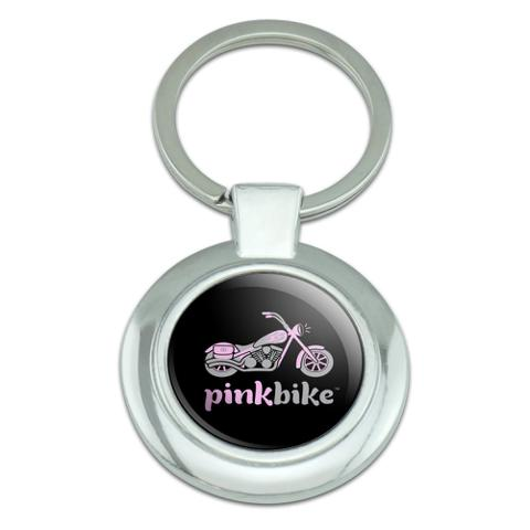 Pink Bike Motorcycle Chopper Logo Classy Round Chrome Plated Metal Keychain