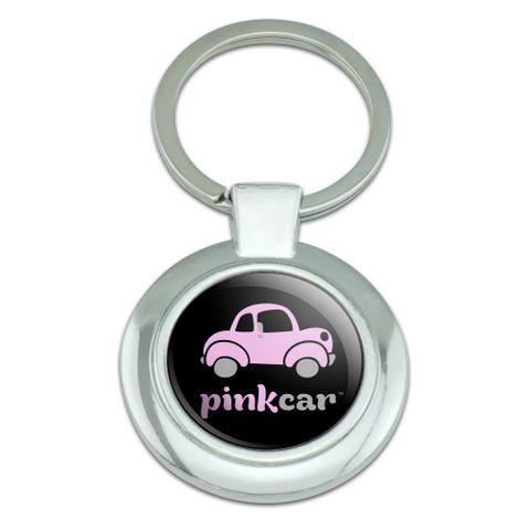 Pink Car Logo Classy Round Chrome Plated Metal Keychain