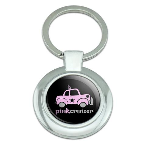Pink Cruiser Police Car Logo Classy Round Chrome Plated Metal Keychain