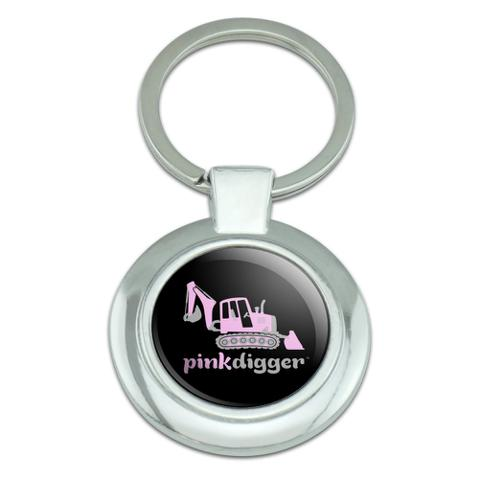 Pink Digger Backhoe Tractor Front End Loader Logo Classy Round Chrome Plated Metal Keychain