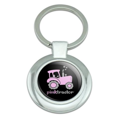 Pink Farm Tractor Logo Classy Round Chrome Plated Metal Keychain
