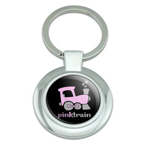 Pink Train Engine Steam Locomotive Logo Classy Round Chrome Plated Metal Keychain