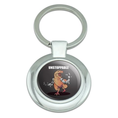 Unstoppable Tyrannosaurus Rex Dinosaur Classy Round Chrome Plated Metal Keychain