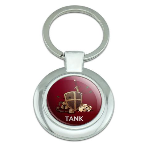 Tank Warrior RPG MMORPG Class Role Playing Game Classy Round Chrome Plated Metal Keychain