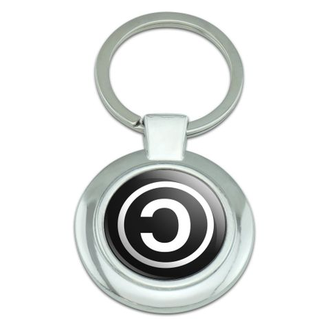 Copyleft Copy Left Copyright Funny Classy Round Chrome Plated Metal Keychain