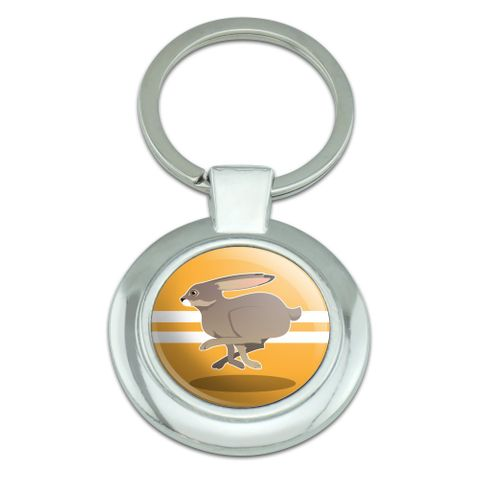 Jackrabbit Running Racing Classy Round Chrome Plated Metal Keychain