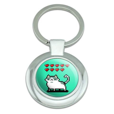 Nine Lives Cat Pixel Retro Game Classy Round Chrome Plated Metal Keychain