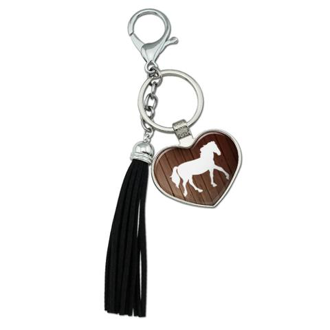 Horse Silhouette Cowboy Western Chrome Plated Metal Heart Leather Tassel Keychain