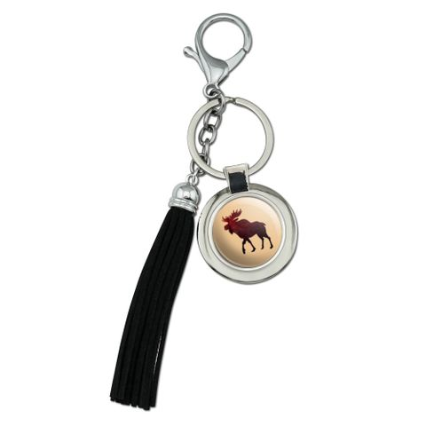 Moose Red Forest Chrome Plated Metal Round Leather Tassel Keychain