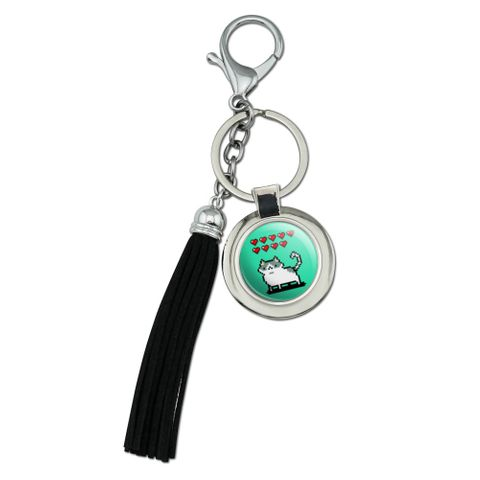 Nine Lives Cat Pixel Retro Game Chrome Plated Metal Round Leather Tassel Keychain