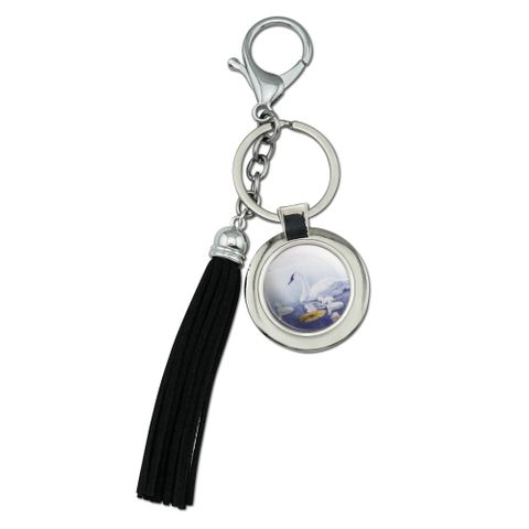 Swan Family on the Lake Chrome Plated Metal Round Leather Tassel Keychain
