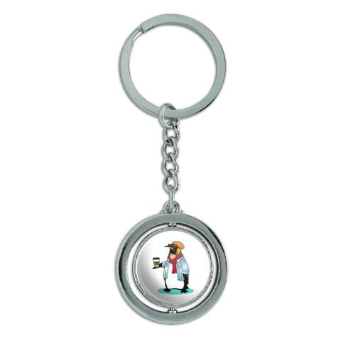 Cool Penguin Hipster with Coffee Spinning Round Chrome Plated Metal Keychain Key Chain Ring