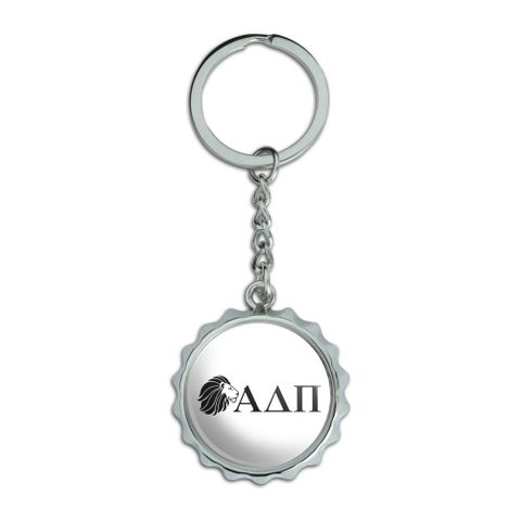 Alpha Delta Pi Sorority Lion Greek Letters Black Officially Licensed Chrome Plated Metal Pop Cap Bottle Opener Keychain Key Ring