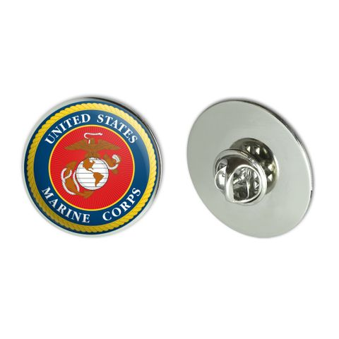 """Marines USMC Logo Blue Red Gold Officially Licensed Metal 1.1"""" Tie Tack Hat Lapel Pin Pinback"""