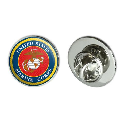 """Marines USMC Logo Blue Red Gold Officially Licensed Metal 0.75"""" Lapel Hat Pin Tie Tack Pinback"""