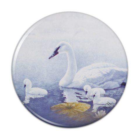Swan Family on the Lake Kitchen Refrigerator Locker Button Magnet