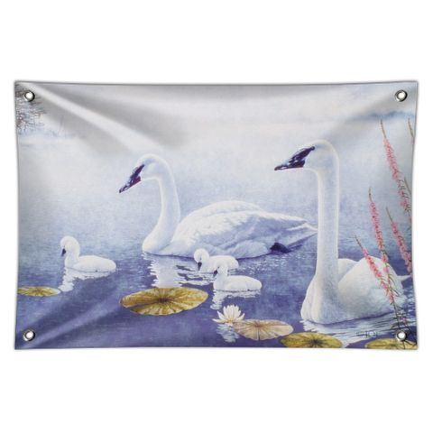 Swan Family on the Lake Home Business Office Sign