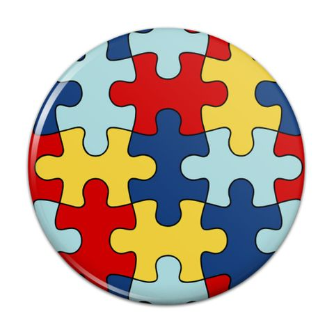Autism Awareness Diversity Puzzle Pieces Compact Pocket Purse Hand Cosmetic Makeup Mirror