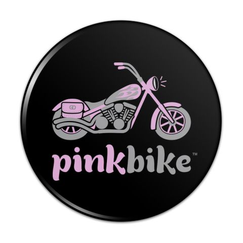 Pink Bike Motorcycle Chopper Logo Compact Pocket Purse Hand Cosmetic Makeup Mirror