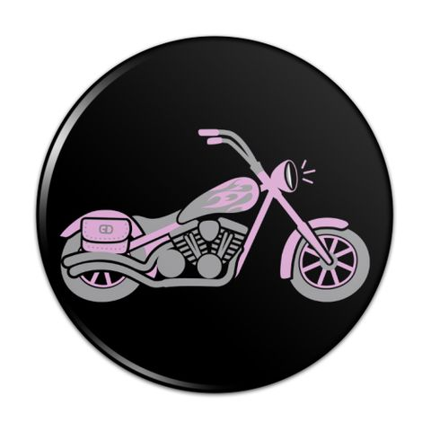 Pink Bike Motorcycle Chopper Compact Pocket Purse Hand Cosmetic Makeup Mirror