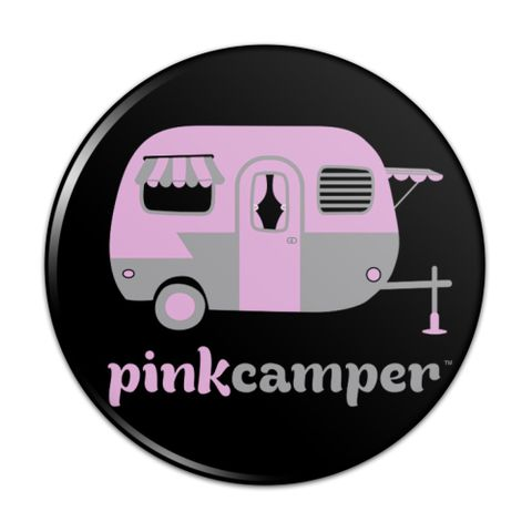 Pink Camper Trailer Camping Logo Compact Pocket Purse Hand Cosmetic Makeup Mirror