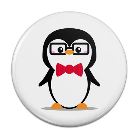 Cartoon Penguin with Bow Tie and Glasses Compact Pocket Purse Hand Cosmetic Makeup Mirror