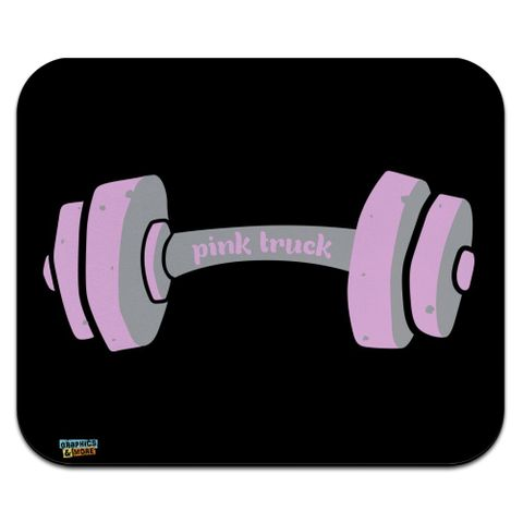 Pink Tough Barbell Cancer Low Profile Thin Mouse Pad Mousepad