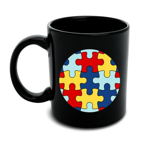 Autism Awareness Diversity Puzzle Pieces Black Mug