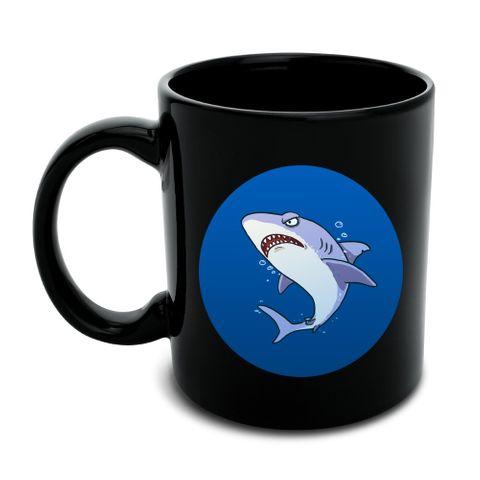 Great White Shark Cartoon in Ocean Black Mug