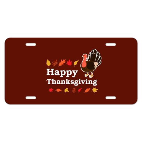 Happy Thanksgiving Turkey Novelty Metal Vanity Tag License Plate