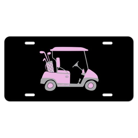 Pink Golf Cart Novelty Metal Vanity Tag License Plate